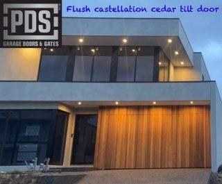 PDS custom flush tilt door clad with castellation cedar #customtiltdoor #cedargaragedoor #custommadegaragedoorsmelbourne